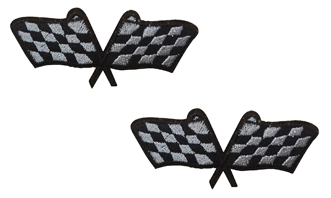 2 small pieces FORMULA ONE FLAG Iron On Patch Fabric F1 Chequered Checkered Grand Prix Motif Applique Race Sports Decal 3 x 1.3 inches (7.5 x 3.3 cm)