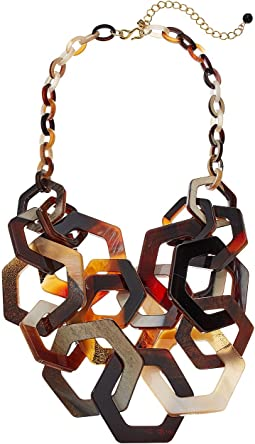 "20"" 2 Row Brown/Tortoise Multi Hexagon Necklace with 4"" Extender"