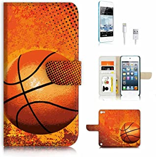 ( For ipod 5, itouch 5, touch 5 ) Flip Wallet Case Cover & Screen Protector & Charging Cable Bundle! A4283 Basketball