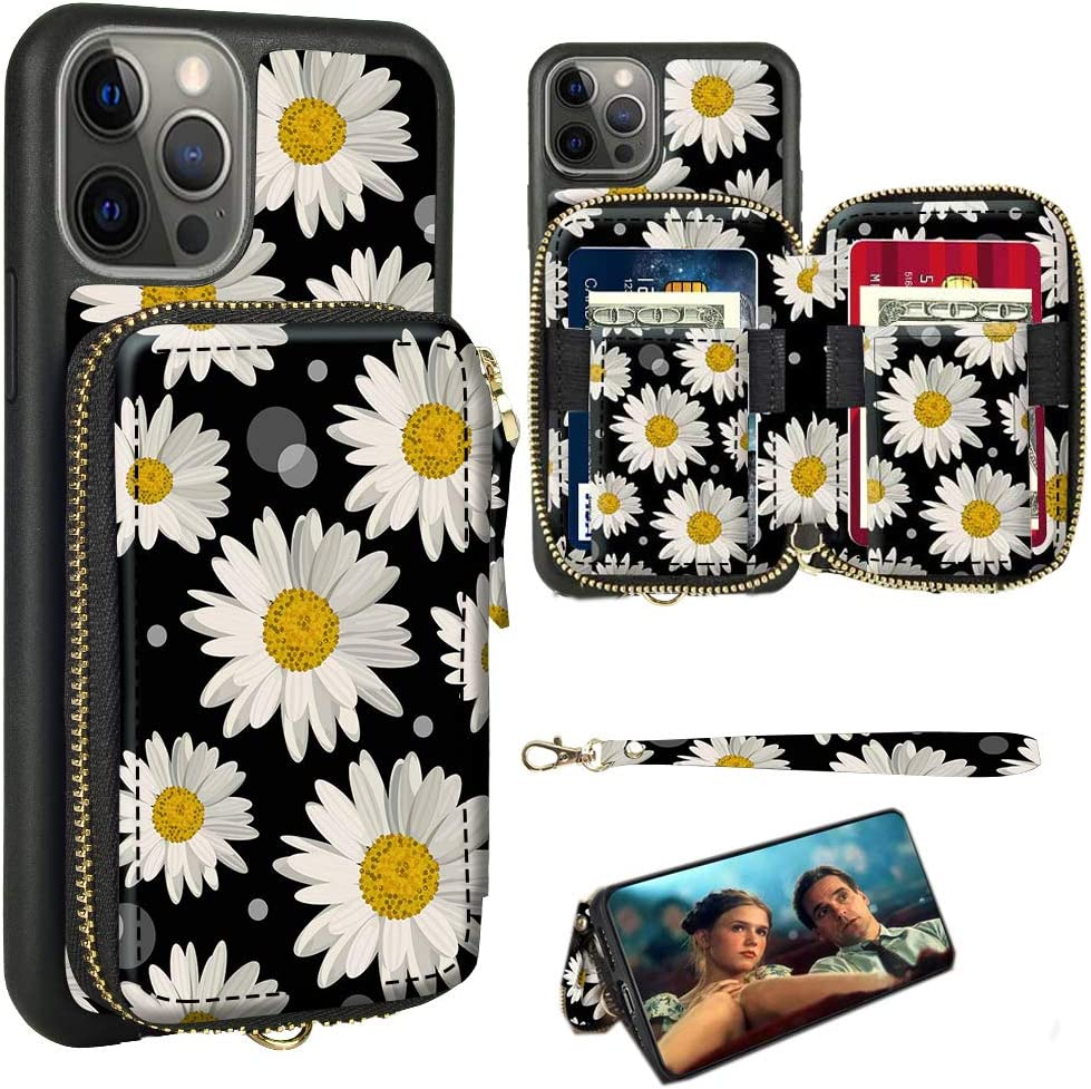 ZVE Wallet Case Compatible with iPhone 12 Pro Max Case Wallet Case with Credit Card Holder Slot Wrist Strap Protective Leather Cover for iPhone 12 Pro Max, 6.7 inch - Black Daisy