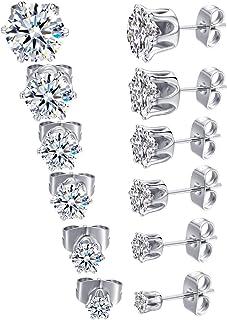 GEMSME 18K White Gold Plated Round Cubic Zirconia Stud Earrings Hypoallergenic Jewelry for Women Men