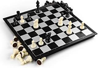 TraderPlus Folding Magnetic Black & White Chess Set Chess Board Game for Kids and Adults
