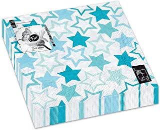Fun® Trendy 3-Ply Disposable Coloured Printed Paper Napkin Tissue 33x33cm - Blue Stars - Pack of 20