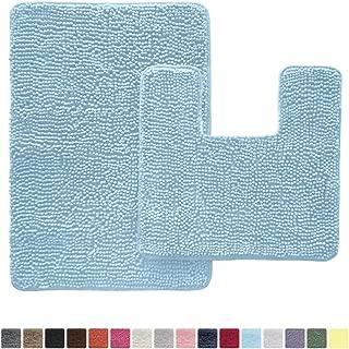 GORILLA GRIP Original Shaggy Chenille 2 Piece Rug Set, Includes Square U-Shape Contour Toilet Mat & 30x20 Carpet Rug, Machine Wash/Dry Mats, Soft, Plush Rugs, Sky Blue