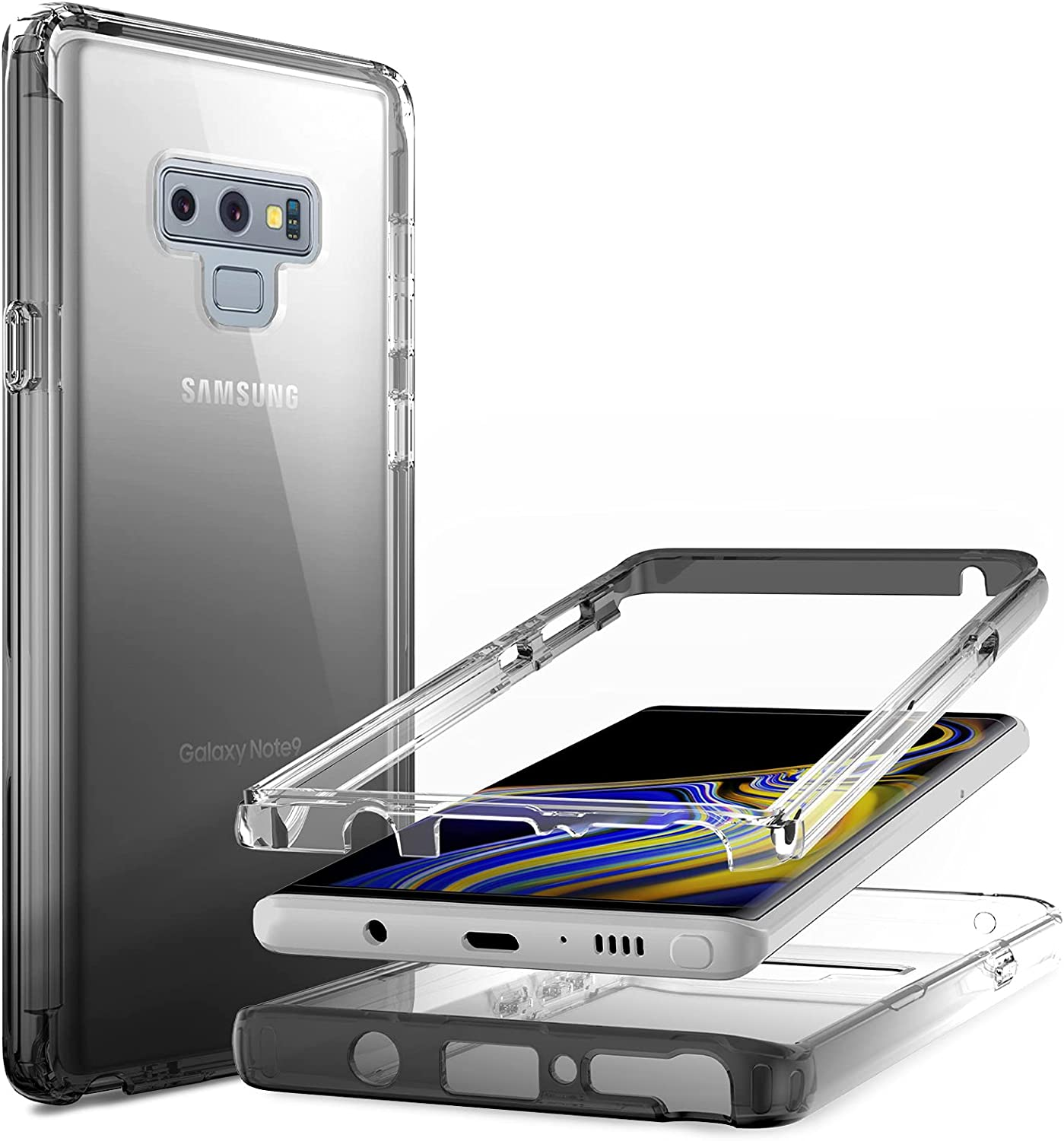 Nvollnoe for Samsung Note 9 Case Heavy Duty Protective Galaxy Note 9 Case Shockproof 2-in-1 Front Bumper with Anti-Yellowing Clear Phone Case for Samsung Galaxy Note 9-6.4''(Clear Black)