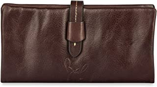 Rohit Bal Dark Brown Leather Wallet with Stitch Clip for Women