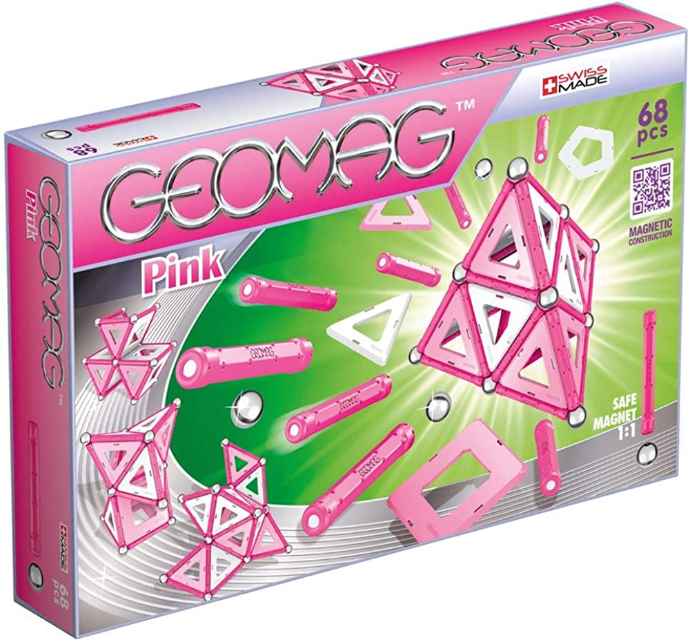 Geomag 342 classic pink ,sistema di costruzioni magnetico, multicolore, 68 pezzi