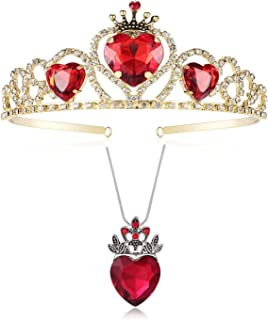 Evie Red Heart Tiara and Necklace Descendants Crown & Pendant Jewelry Set Queen of Hearts Costume Fan Jewelry Accessories ...