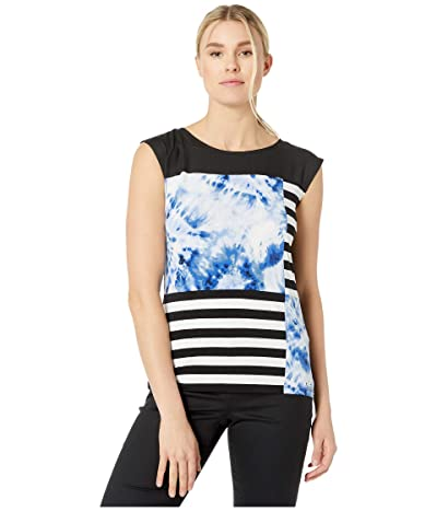 Calvin Klein Sleeveless Print Block Top (Soft White Combo) Women
