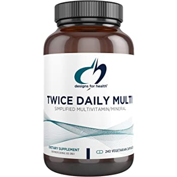 Designs for Health Twice Daily Multi - Iron-Free Adult Multivitamin Supplement with Active Folate Quatrefolic+ Chelated Minerals - Vitamins A, B6, C, D, E, and K, Riboflavin, Thiamin (240 Capsules)