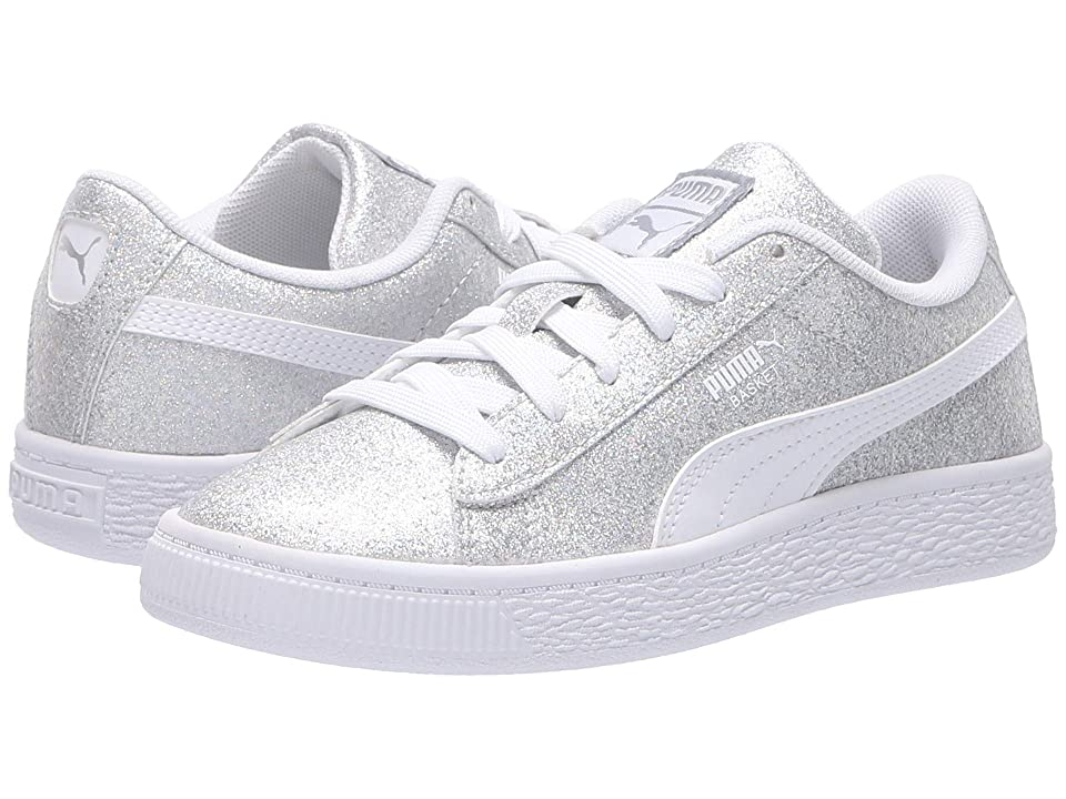 Puma Kids Basket Holiday Multi Glitz PS (Little Kid) (Puma Silver/Puma White) Girls Shoes