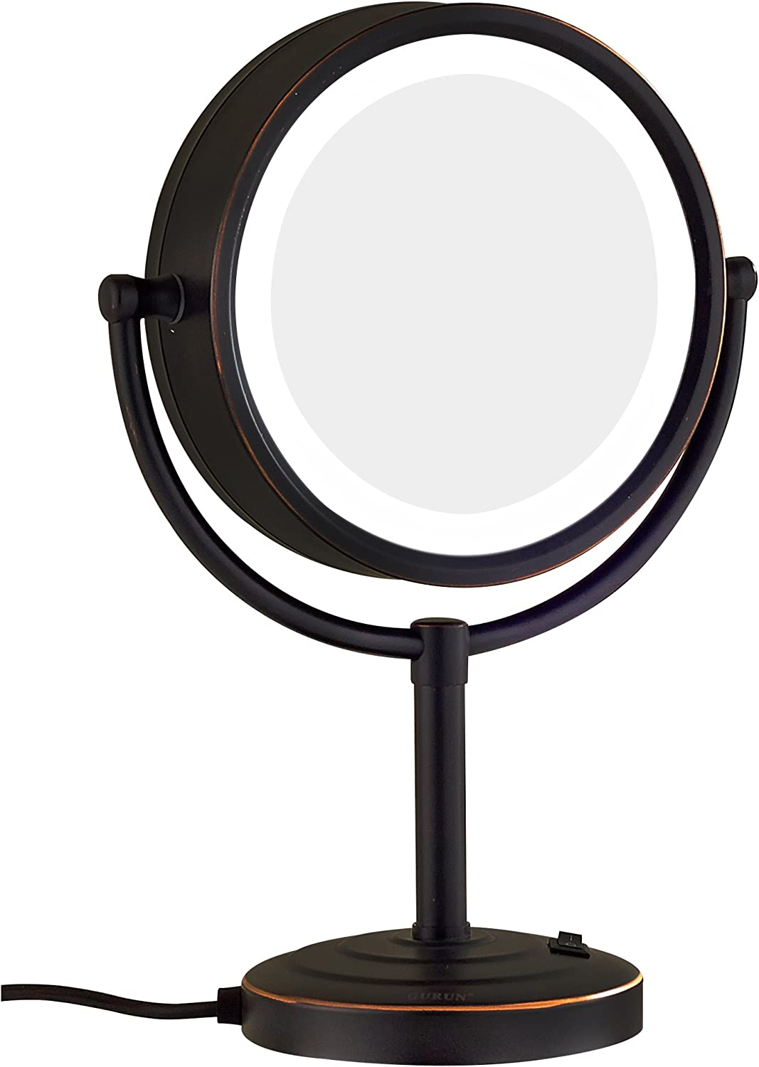 GuRun 8.5-Inch Tabletop Double-Sided LED Lighted Makeup Mirror with 10x Magnification,Oil-Rubbed Bronze M2208DO(8.5in,10x)