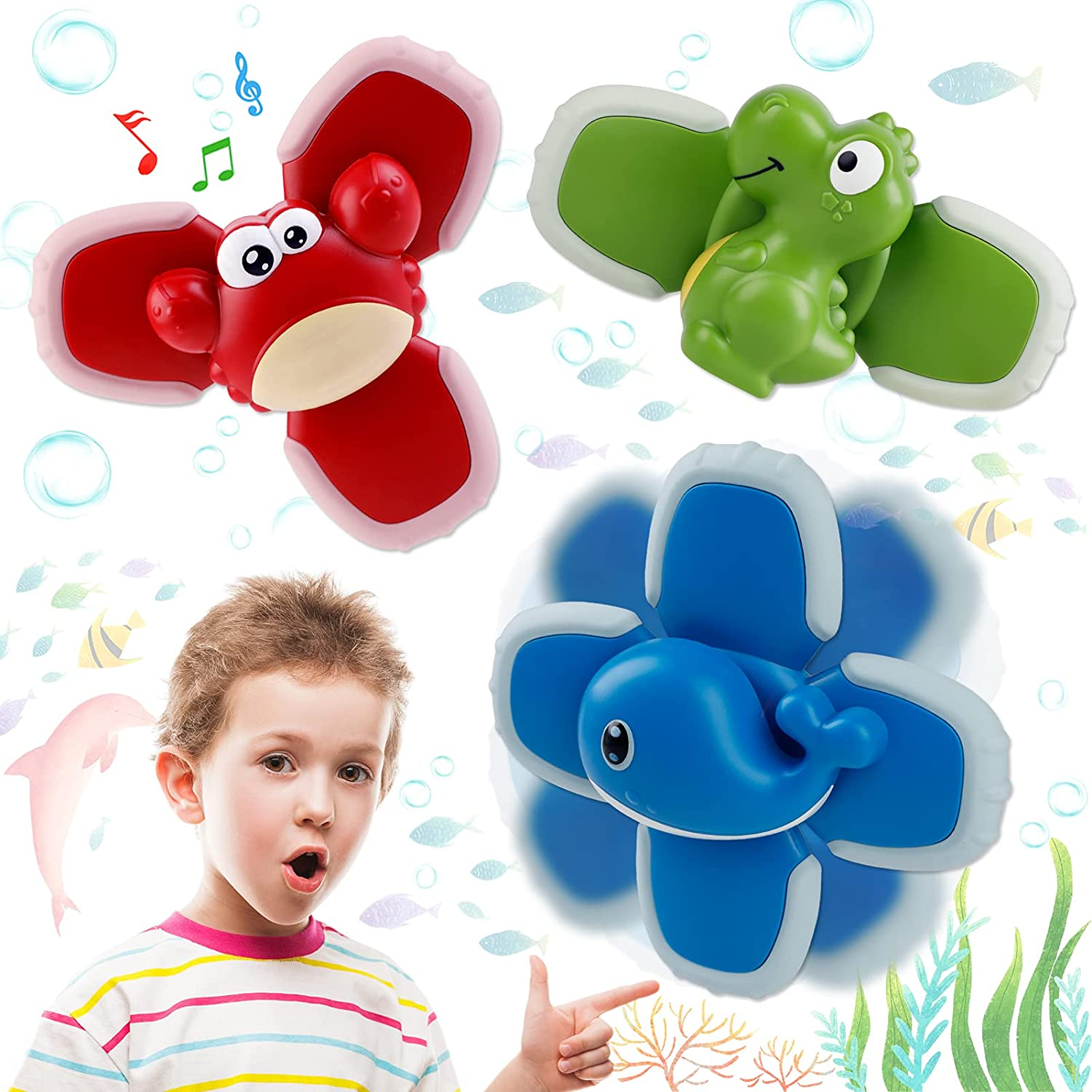 Saturfun High quality new Suction Cup Spinning Top Toy Spinner Toys Overseas parallel import regular item 3PCS Bab for