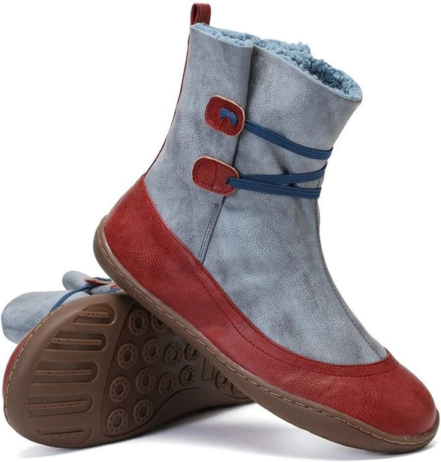 Womens Twin Button Faux Fur Waterproof Winter Snow Boots Splicing Leather Ankle Booties Anti Slip Outdoor Trekking Hiking Walking Shoes EU35-43,Gray,36