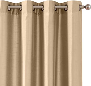 Vangao Brown Taupe Curtains 95 Inches Long Faux Silk Opaque Curtain Light Filtering Living Room Satin Drapes Privacy Window T