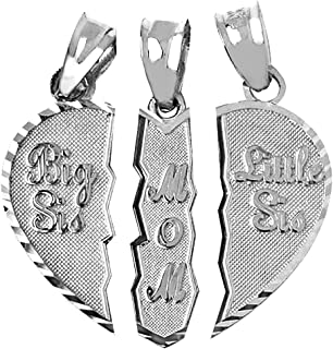 Textured Sterling Silver 3-Piece Mom and Daughters Breakable Heart Necklace Pendant