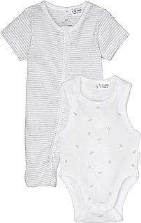 Purebaby S/Slv Growsuit Bodysuit Pack, Pg Stripe/Pg Leaf W Spot