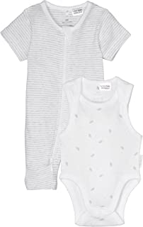 Purebaby S/Slv Growsuit Bodysuit Pack, Pg Stripe/Pg Leaf W Spot