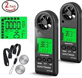 Portable Anemometer Handheld Wind Speed Meter for Measuring Wind Speed, Temperature and Max/Average/Current, High Precision, Measuring for Windsurfing Sailing Fishing Outdoor Activities-AP-816B(2Pack)