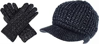 BYOS Women Winter Metallic Cable Knit Beanie Hat Gloves Set, Warm Fleece Lined Wool Beret Newsboy Cap with Visor