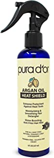 PURA D�OR Argan Oil Heat Shield Protectant Spray (8oz / 237mL) Infused w/ Organic Argan Oil: Protect up to 450� F from Flat Iron & Hot Blow Dry. Leave-In Conditioner: Define & Shine Dry & Damaged Hair