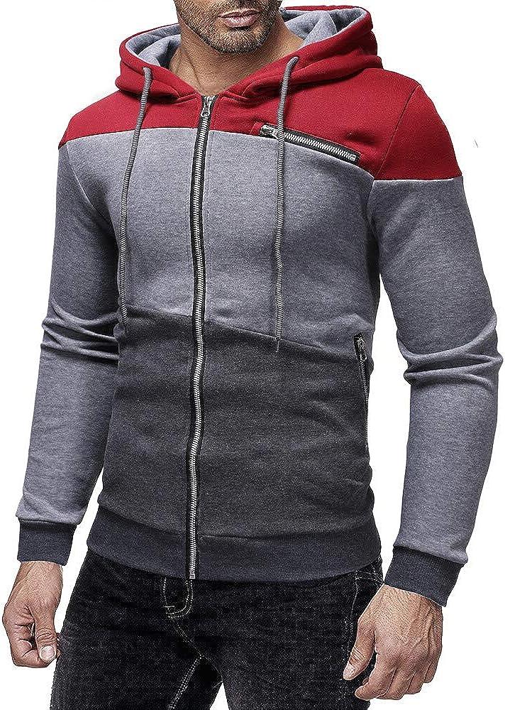 DIOMOR Mens Classic Color Block Full Zip Hooded Jacket Casual Slim Fit Pullover Hoodie Outdoor Sport Sweatshirts Outwear