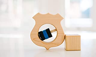 Wooden Police Shield Rattle