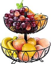 Fruit Stand Vegetables Basket Counter Top Fruit Basket Bowl Storage for Kitchen Home Metal Cast Iron (2 Tier-Black)