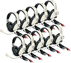 Califone 3066AV-10L 3066AV-10L Deluxe Headsets with Boom Mic, Beige (Pack of 10)