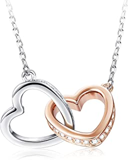 Rose Gold & Platinum Plated Double Heart Pendant Necklace for Women Crystal Necklace Mother's Day Jewelry Gift for Women Crystals from Swarovski