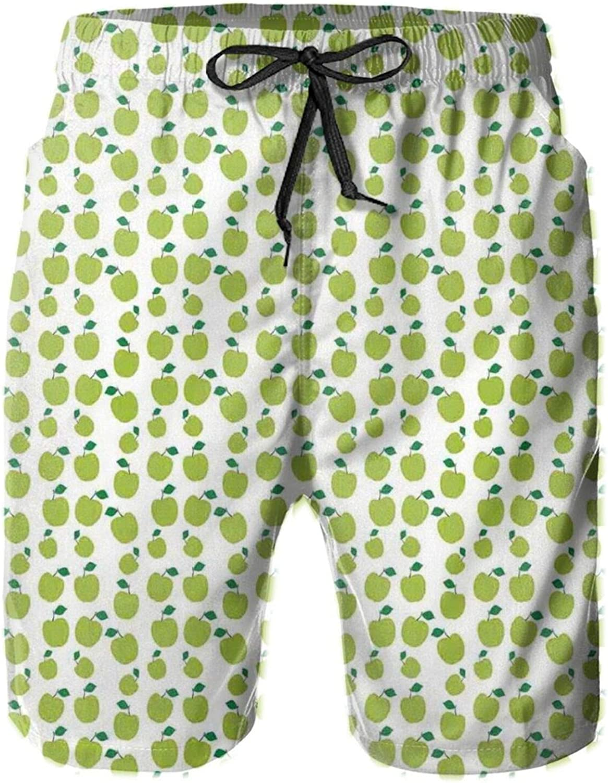 Green Toned Fruits Simple Ornamental Fresh Food Design Monochrome Illustration Mens Swim Trucks Shorts with Mesh Lining,M