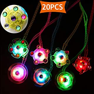 Glow in the Dark Birthday Party Favors for Kids,20 Pack Halloween Party Favors Light Up Neckalce Toys Hand Spin Stress Relief Anxiety Toys Bulk Fidget Toys Boys Girls