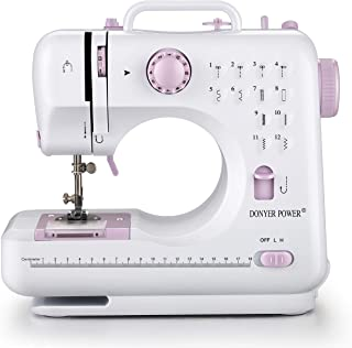 DONYER POWER Electric Sewing Machine Portable Mini with 12 Built-in Stitches, 2 Speeds Double Thread, Embroidery,Foot Pedal
