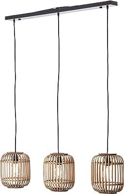 Lámpara de techo decorativa Nature, 3 x E27 máx. 40 W de metal/ratán en color marrón claro y negro