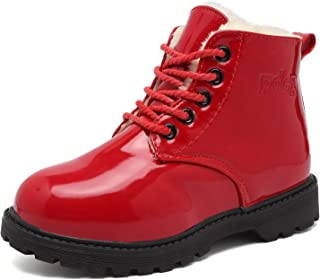 CIOR Boy's Girl's Waterproof Winter Warm Ankle Boots Zipper Cute Casual Shoes(Toddler/Little Kid)