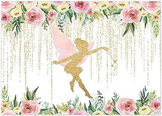 Funnytree Hintergrund für Fotografie, 17,8 x 152 cm, Blumenfee/Geburtstagsparty, Rosa und goldfarben