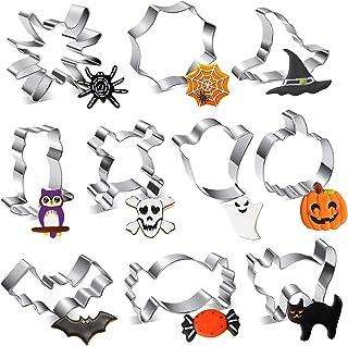 Lot de 10 emporte-pièces Halloween en acier inoxydable - Emporte-pièce avec formes de citrouille, toile d'araignée, chauv...