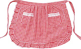 CRB Fashion Waist Apron with Pocket Cotton Commercial Restaurant Waitress Waiter for Girl Woman Half Bistro Aprons (Check Red)