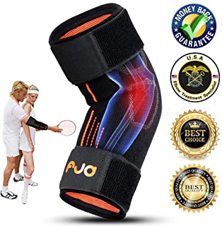 Tennis Elbow Brace Tendonitis Compression Sleeve Elbow Support Brace Tennis Elbow Strap Golfers Elbow Sleeve Recovery Adjustable for Men Women Weightlifting with pad (Medium)