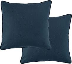 JSBYY Throw Pillow Covers Faux Leather Modern Cushion Cover 18x18 Inch Set of 2 Blue