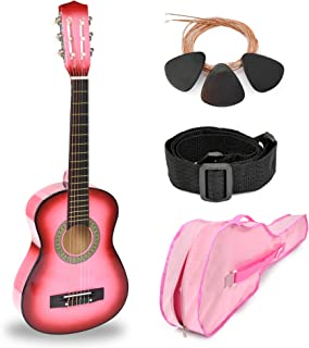"""30"""" Pink Wood Guitar with Case and Accessories for Kids/Girls/Beginners"""