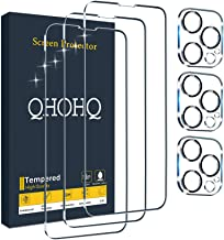 """QHOHQ 3 Pack Screen Protector for iPhone 13 Pro 6.1"""" with 3 Packs Camera Lens Protector, Ultra HD Full Screen Tempered Gla..."""