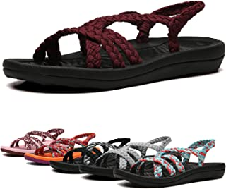 EAST LANDER Women's Comfortable Flat Walking Sandals with Arch Support Waterproof for Walking/Hiking/Travel/Wedding/Water Spot/Beach.