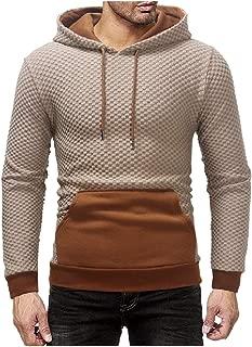 MogogoMen Hood Pullover Plaid Pullover Kangaroo Pocket Color Stitch Tracksuit Top