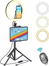 """$37 » UFULA Ring Light with Stand for iPad iPhone, 10"""" LED RingLight Tripod with Tablet Phone Holder, Selfie Circle Lamp Video R..."""