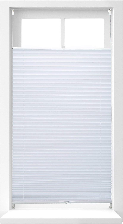Relaxdays Estor Plisado, Tela, Transparente y Blanco, 90x210 cm