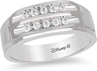 Jewelili Enchanted Disney Fine Jewelry 14K White Gold 1/4 Cttw Mens Ring.