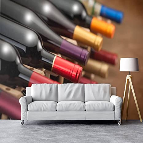 Amazon Com Self Adhesive Peel And Stick Wallpaper Pvc Print Wall Mural Red Wine Bottles On Wine Rack Home Removable Wall Decal For Living Room Poster Sticker Tools Home Improvement