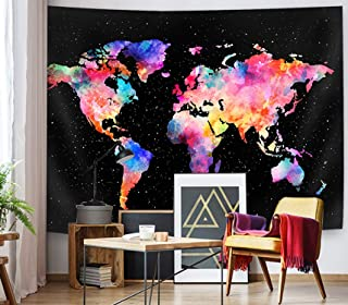 SuperMee Colorful World Map Tapestry Wall Hanging Starry Map Galaxy Wall Blanket for Kids Children Bedroom Living Room Dorm Decor, 79X59 Inch