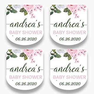Set of 30 Personalized Floral Mini Favor Labels - Customized Stickers for Baby Shower Favors - Mini Bottle Labels - Labels...